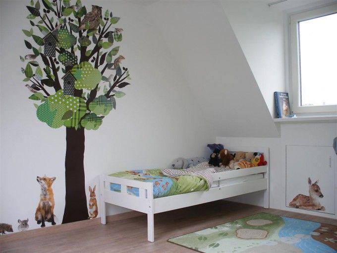 Muursticker boom, thema dieren-groen : Ideeen jongenskamer : Pinterest