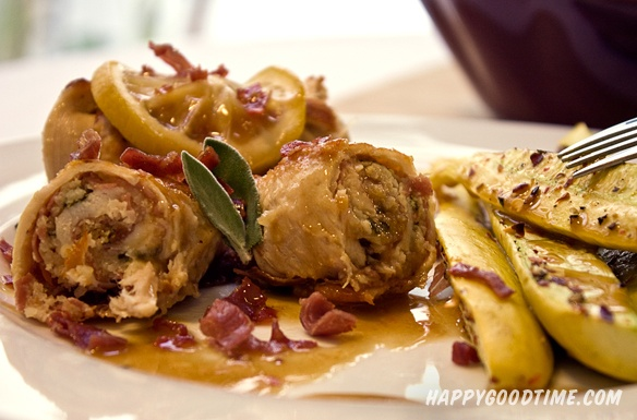 Lighter Chicken Saltimbocca Rollatini with Lemon Sage Pan Sauce