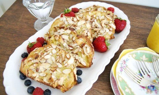 Almond French Toast. I am so hungry right now, and French toast sounds ...