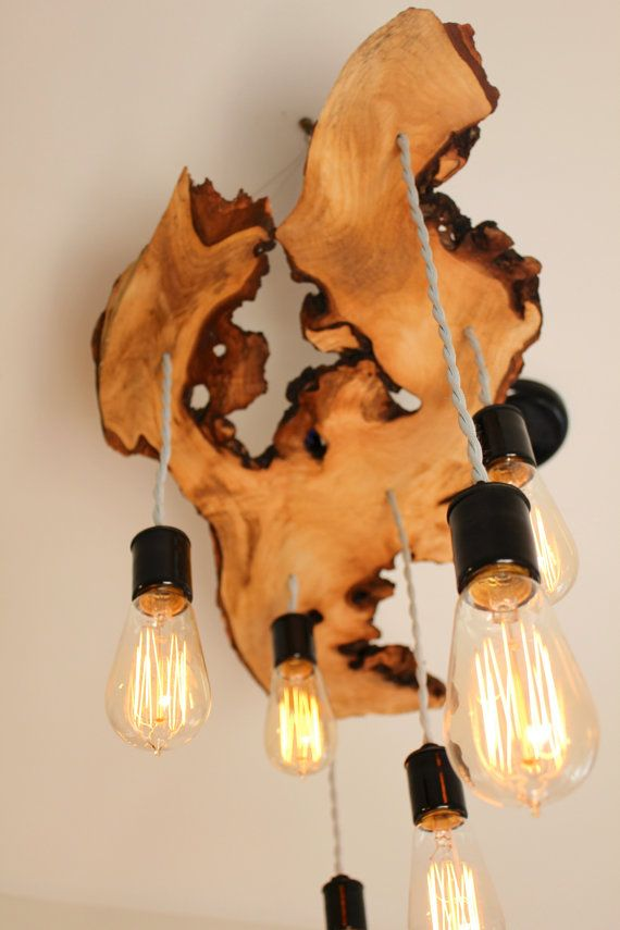 Extreme Live-Edge Wood Slab Light Fixture with Hanging Edison Bulbs// Chandelier// Rustic- Earthy/ Sculptural