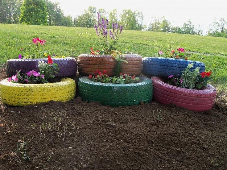My flower tire garden - Garden ideas using tyres ...