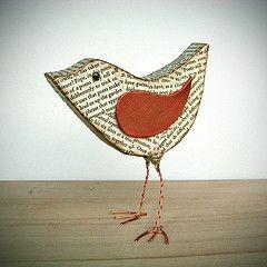 Paper mache bird...so sweet