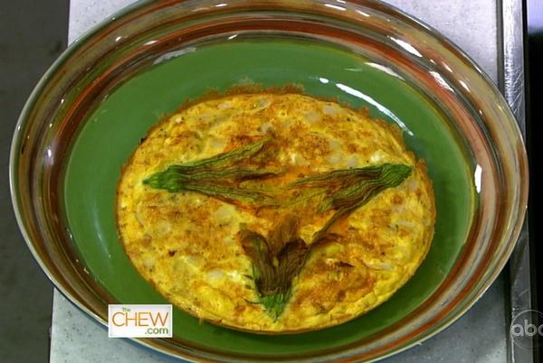 the chew | Recipe | Mario Batali's Squash Blossom Frittata