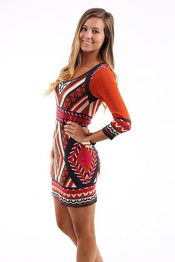 Orange Aztec Sweater Dress 88