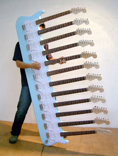 Ok, this one's just plain stupid… or is it?! This fully-functioning Stratocaster/work of art by Japanese artist Yoshihiko Satoh, has 72 strings of pure power. You might need an extra arm or two to fully rock out, but imagine walking out on stage with this baby strapped around your neck. Talk about Rock God…!