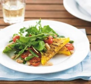 Chargrilled polenta with bean, tomato and rocket salad | Healthy Food ...