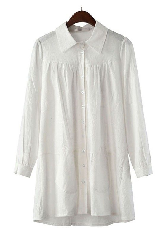 White Ruffle Neck Blouse 105