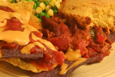 Vegan Chili w/ Corn Pone, Tortillas, and cashew nacho cheeze sauce