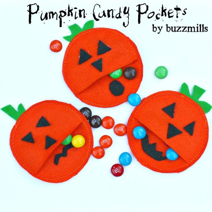 Pumpkin candy pockets I bet we could do this with hand sewing, or even ...