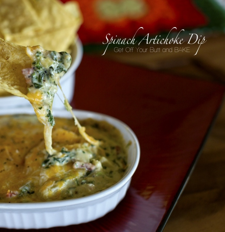 hot cheesy spinach artichoke dip | Yummy Appetizers! | Pinterest