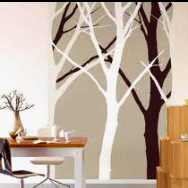Tree silhouette mural diy wall painted design pinterest for Diy tree wall mural