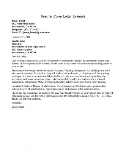 cover letter for teacher job examples