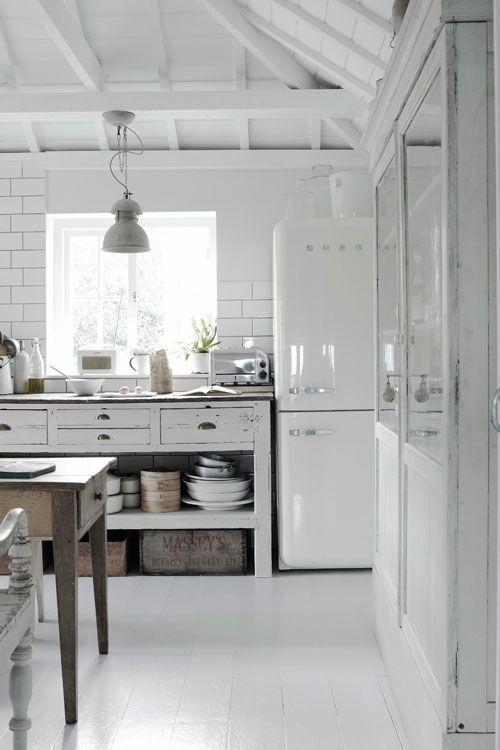 White country style kitchen. With white smeg fridge x