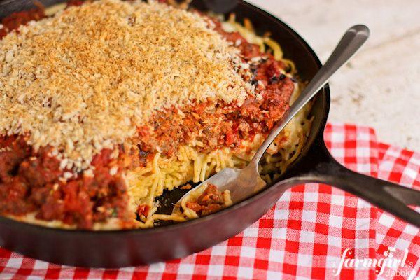 Spaghetti Hotdish with Garlic Bread Crumb Topping | Recipe