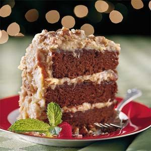 Chocolate velvet cake with coconut-pecan frosting | Recipe