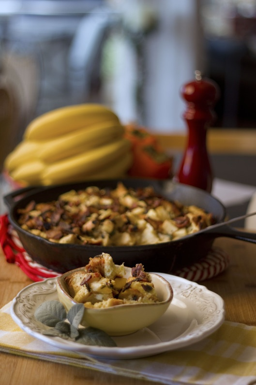 Savory Bread Pudding with Bacon, Sage and Apple