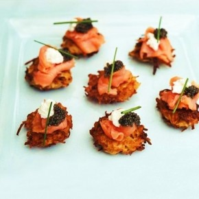 Latkes with caviar and crème fraiche. | Food and Wine | Pinterest