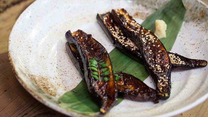Dengaku nasu - Miso grilled eggplant | Vegetarian delights | Pinterest