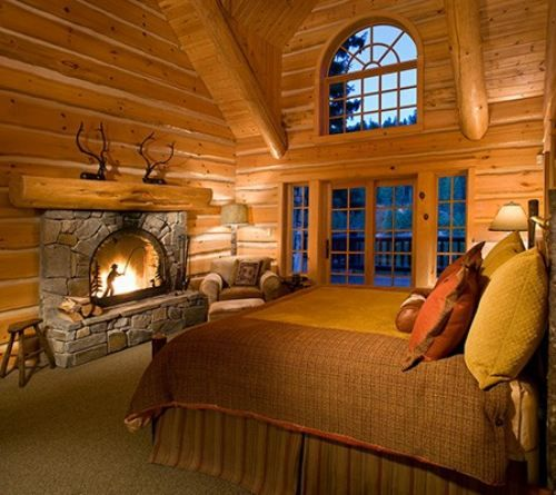 Bedroom Fireplace Log Home Living Pinterest