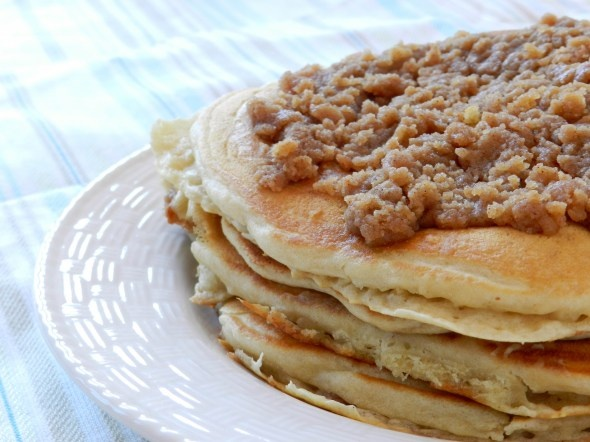 Pumpkin Cinnamon Streusel Pancakes Recipe — Dishmaps