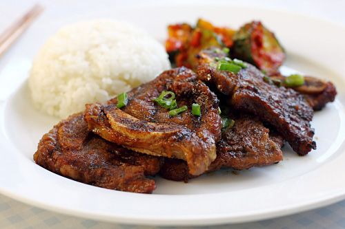 kalbi korean bbq beef short ribs and rice this is a favorite recipe of ...