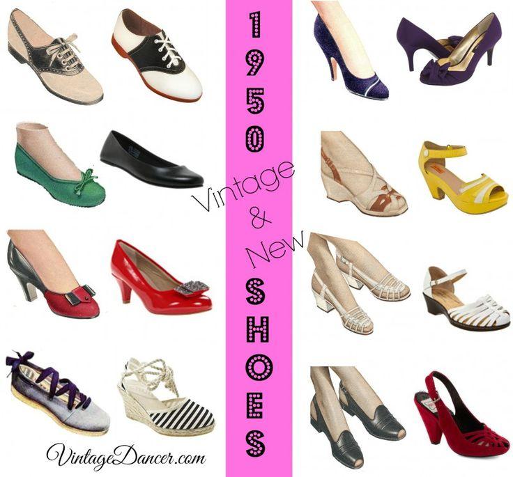 Women's 1950s' shoe styles are saddle shoes, wedges, stilettos, kitten