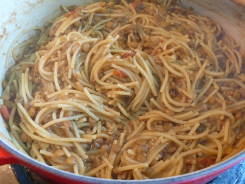 pasta e lenticchie - used whole wheat pasta, fresh plum tomato (oven ...
