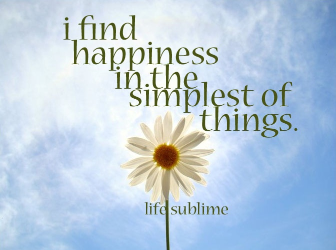 finding happyness in the simple things The only guide to happiness you'll ever need big promotion, winning the lottery — find happiness in the small things that living a very simple life is.