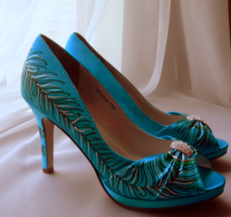Wedding Shoes Painted Peacock Turquoise Peep Toes Silver Feather Bridal Sexy High Heels