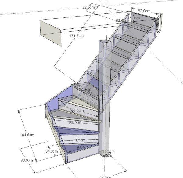 Как сделать полувинтовую лестницу на второй этаж своими руками