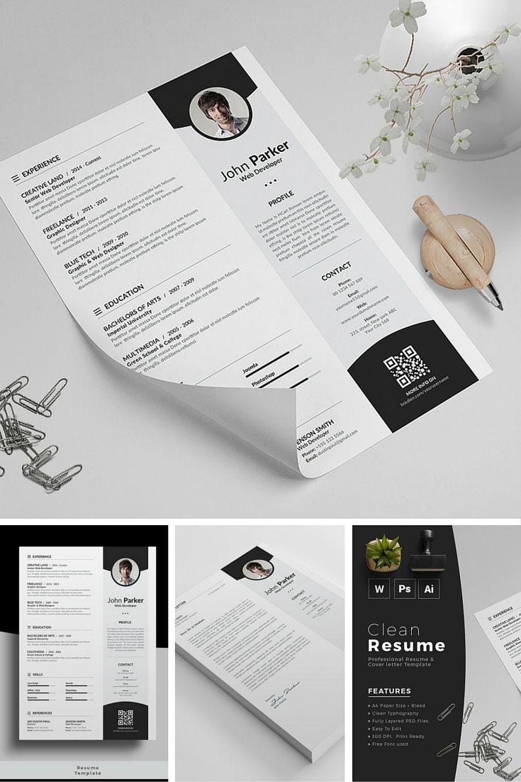 Free Minimalistic CVResume Templates with Cover