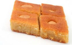 Basbousa Cake. Sweet Semolina Egyptian (Middle Eastern) cake with Rose ...