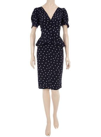 Ink spot peplum dress