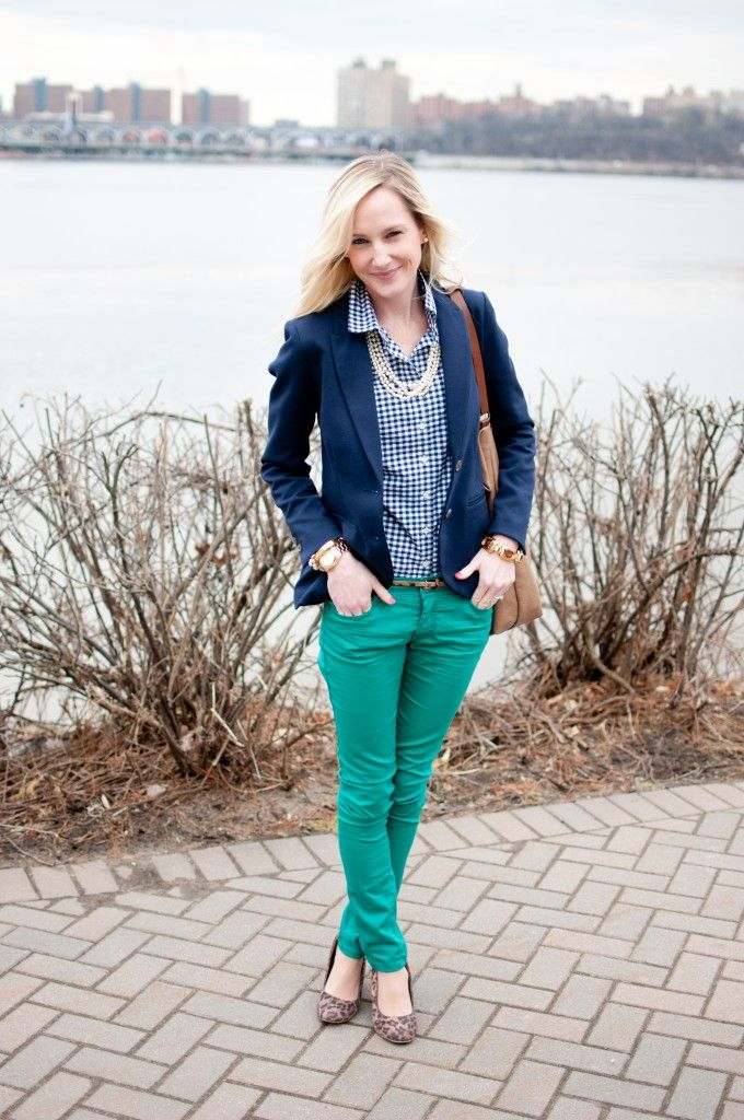 Style for Less: Colored Skinny Jeans, Preppy Blazers and Leopard Print Wedges | Kelly in the City