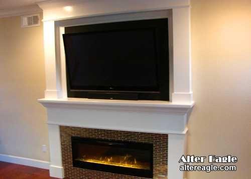 Mantel W Tv Over Fireplace Basement Ideas Pinterest