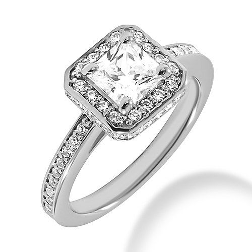 Princess Cut Diamond Engagement Ring Halo Setting 14k White Gold 0.5ct ...