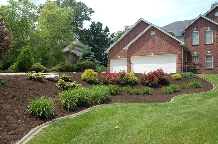 Front Yard Landscaping Roses : Front yard landscape w knock out roses and daylilies love the trees
