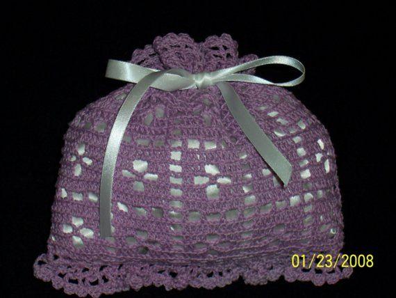Crochet Sachet Bags : FILET CROCHET SACHET BAG