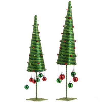 Cone trees with dangling balls set of 2 assorted trees trees measure