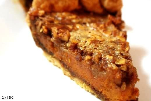 Pumpkin Pie With Gingersnap Crust And Honey Pecan Filling