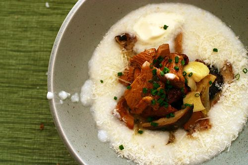 Creamy white polenta with mushrooms. (Or, the fanciest cheese grits I ...