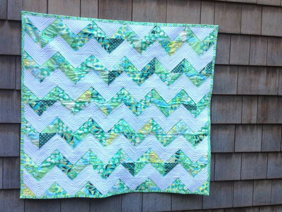 Modern Baby Quilt or Lap Quilt in Scrappy Chevron using Amy Butler Fa ...