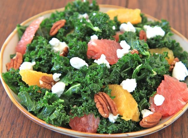 winter citrus kale salad no walnuts for me www.greensandchocolate.com ...