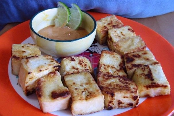 Pan-Fried Tofu with Spicy Peanut Sauce | Recipe
