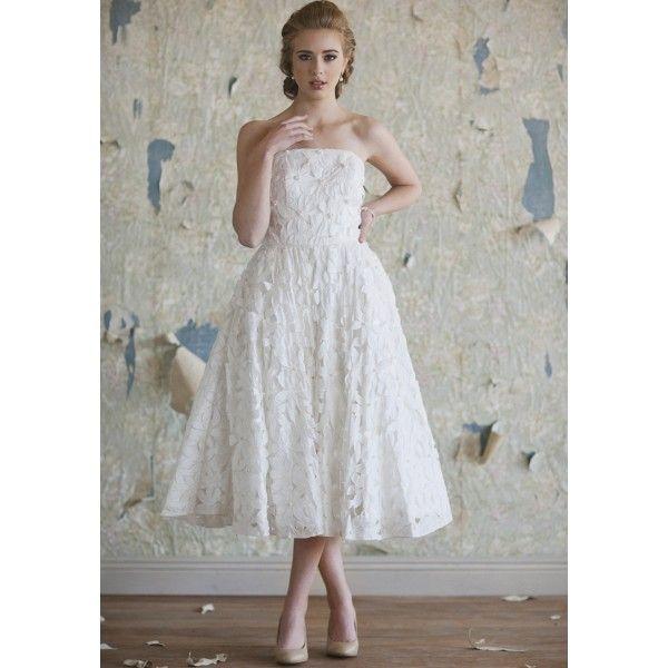 Vintage inspired strapless tea length taffeta wedding dress