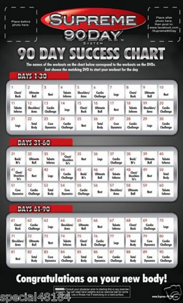Supreme 90 Day Workout Calendar   New Calendar Template Site