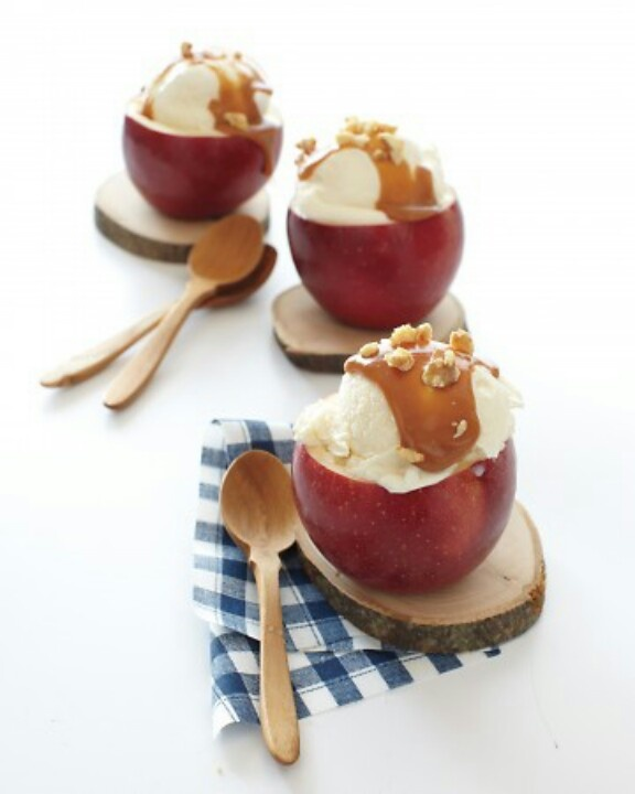 Caramel apple sundaes. Martha Stewart. Cut out the middle of the apple ...