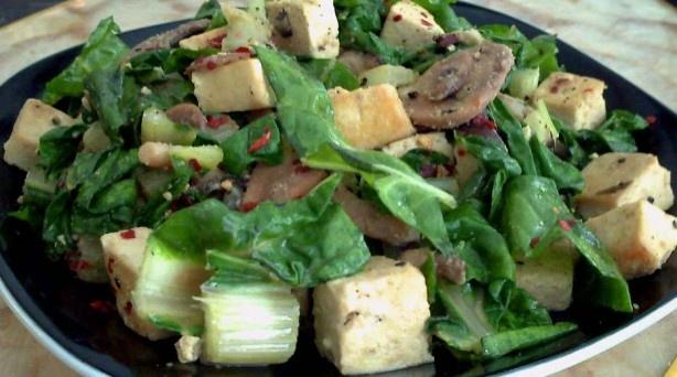 easy tofu mushroom amp swiss chard stir fry just need firm tofu ...