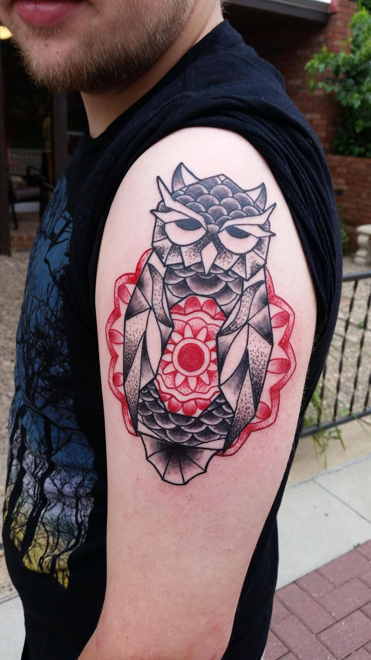 Geometric owl tattoo - photo#14