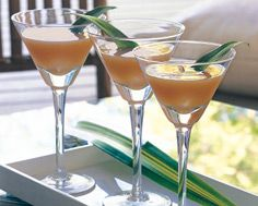 Tropical Martinis with coconut rum, amaretto and fruit juices... mmmmm